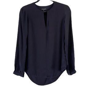rag & bone Keyhole Silk Blouse Black Size XS